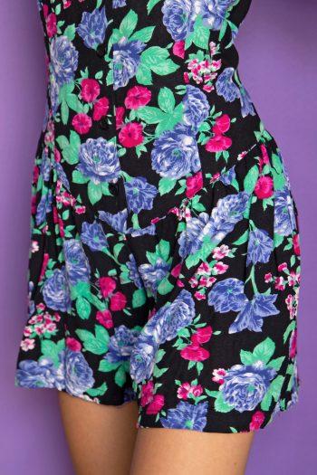 Boho Vintage 80's Floral Button Romper – S/M 90s jumpsuit