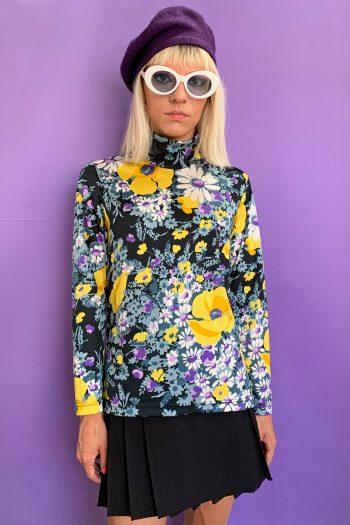 Boho Vintage 90's Floral Turtleneck Top – L 90s top