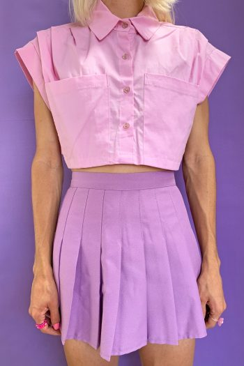Bustiers & Crops Vintage 90's Pink Cropped Shirt – XS/S/M 90s shirt