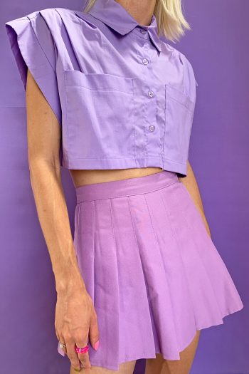 Bustiers & Crops Vintage 90's Purple Cropped Shirt – XS/S/M 90s shirt