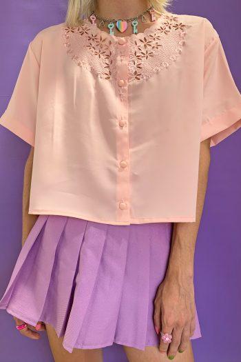 Bustiers & Crops Vintage 90's Pink Floral Crop Shirt – M/L/XL 90s shirt