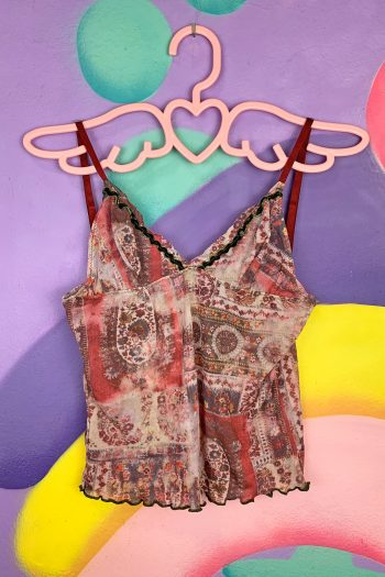 Boho Vintage Y2K Abstract Mesh Cami Top – S/M abstract top