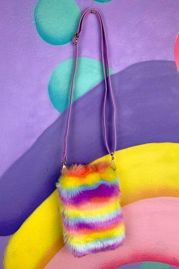 Bags Vintage Y2K Rainbow Faux Fur Mini Bag crossbody bag