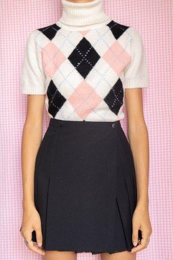 Kawaii ♡ Pastel Vintage Y2K Argyle Turtleneck Sweater – M Size M
