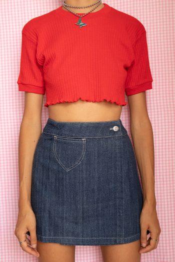 Cyber Vintage 90's Denim Wrap Mini Skirt – S/M 90s skirt