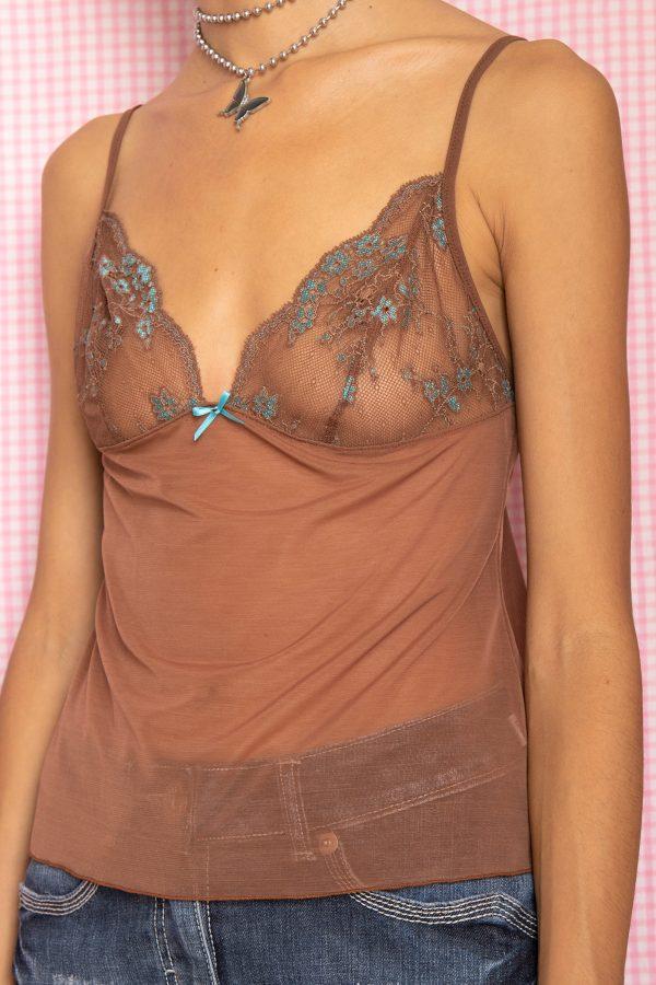 Cyber Vintage Y2K Brown Lace Cami Top – S cami top
