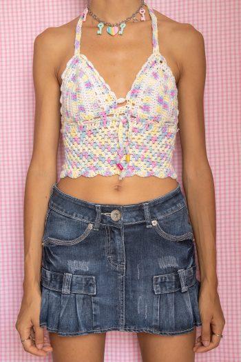 Bustiers & Crops Vintage Y2K Rainbow Crochet Halter Top – S 90s top