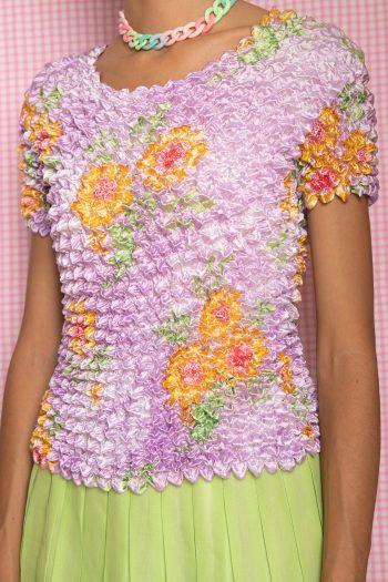 Boho Vintage 90's Pastel Floral Popcorn Top – S/M 90s top