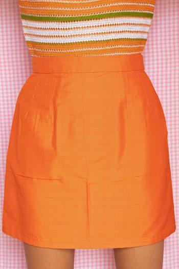 Boho Vintage 80's Orange Tailored Mini Skirt – XS 90s skirt
