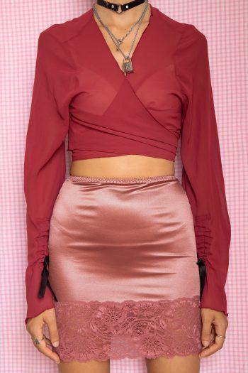 Cyber Vintage 90's Lace Mini Slip Skirt – XS 90s skirt