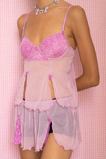 Cyber Vintage 90's Purple Lace Lingerie Skirt Set – S 90s lingerie set