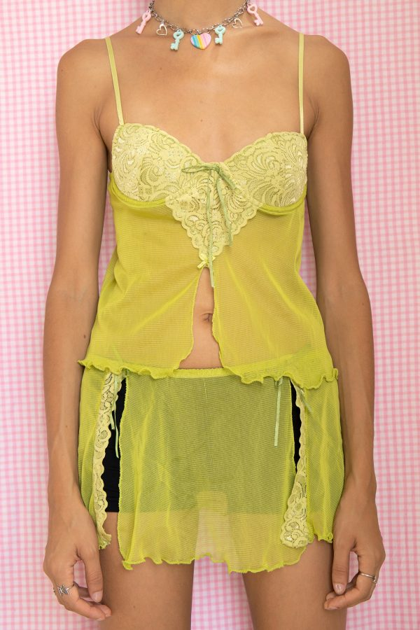 Cyber Vintage 90's Green Lace Lingerie Skirt Set – XS 90s lingerie set