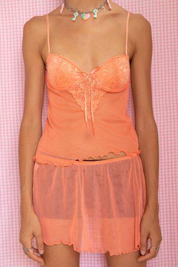 Cyber Vintage 90's Orange Lace Lingerie Skirt Set – XS 90s lingerie set