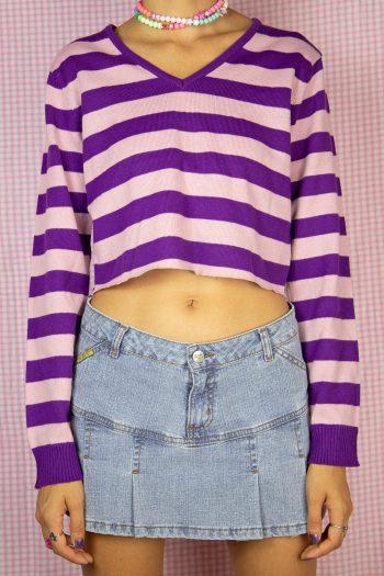 Bustiers & Crops Vintage Y2K Striped Cropped Sweater – M crop sweater