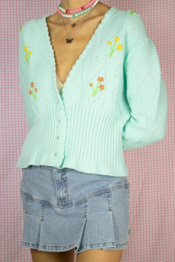 Boho Vintage 90's Floral Crochet Cardigan – XS/S/M 90s cardigan
