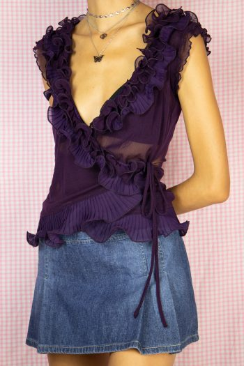 Boho Vintage 90's Purple Ruffle Mesh Top – S/M 90s top