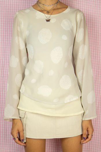 Boho Vintage 90's Beige Long Sleeve Top – M 90s blouse
