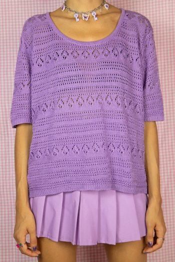 Boho Vintage 90's Purple Crochet Knit Top – XL 90s top