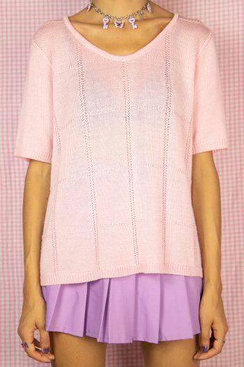 Boho Vintage 90's Pink Crochet Knit Top – L/XL 90s top
