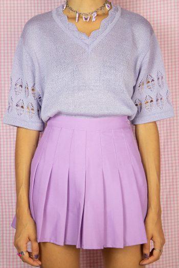Boho Vintage 90's Lilac Crochet Knit Top – M/L 90s top