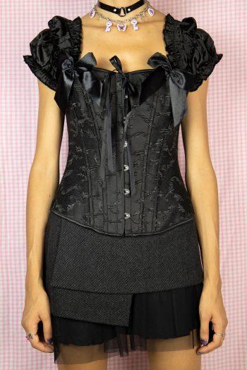Bustiers & Crops Vintage Y2K Black Puff Sleeve Corset – S/M 90s bustier