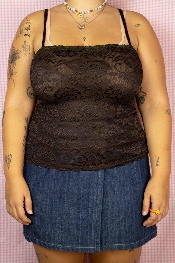 Boho Vintage Y2K Brown Lace Cami Top – M/L cami top