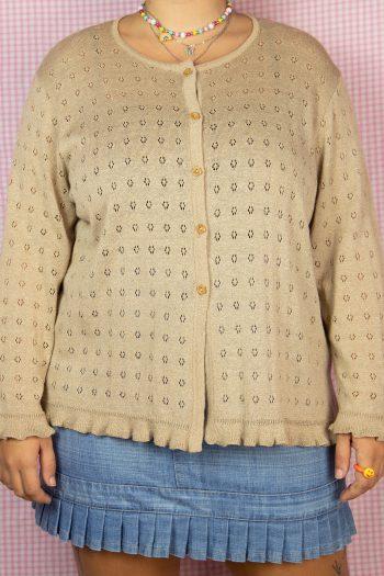 Boho Vintage 90's Brown Ruffle Knit Cardigan – XXL 90s cardigan