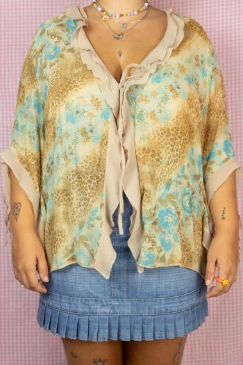Cyber Vintage 90's Abstract Tie Front Top – XXL 90s top
