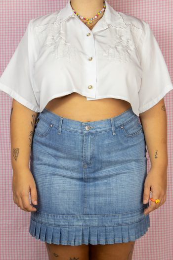 Bustiers & Crops Vintage 80's White Collar Cropped Blouse – M/L/XL 90s shirt