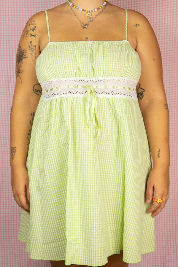 Dresses Vintage 90's Green Plaid Mini Dress – L/XL 90s dress