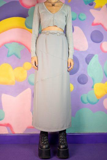 Boho Vintage 90's Gray Side Slit Maxi Skirt – XS 90s skirt