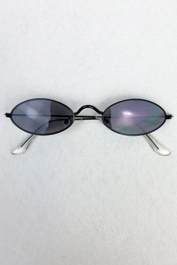 Cyber Black Small Oval Sunglasses Size L