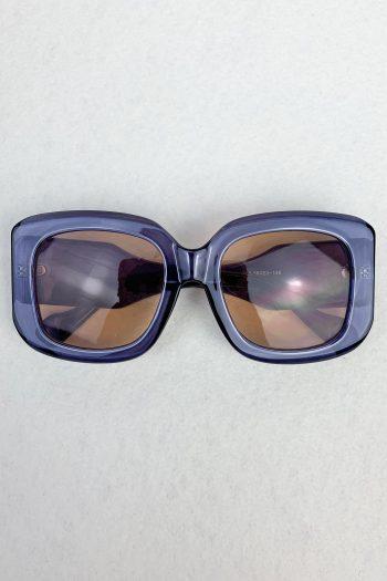 Cyber Blue Oversized Square Sunglasses Size L