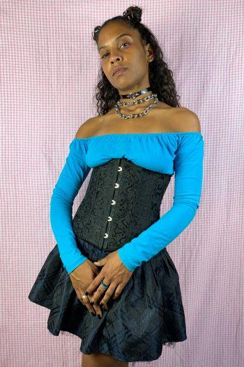 Bustiers & Crops Vintage Y2K Black Brocade Jacquard Corset – S/M bras