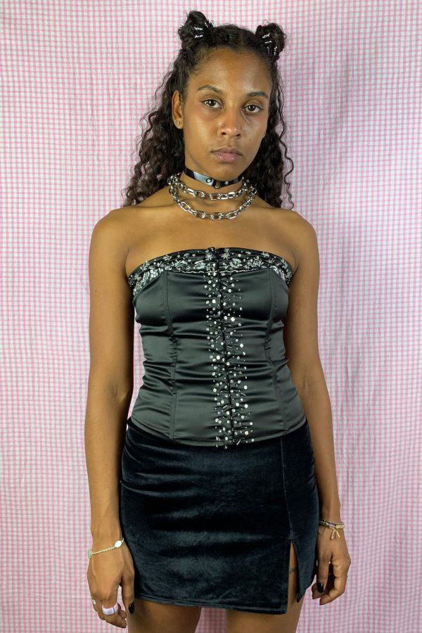Bustiers & Crops Vintage Y2K Black Beaded Corset Bustier – S/M bras
