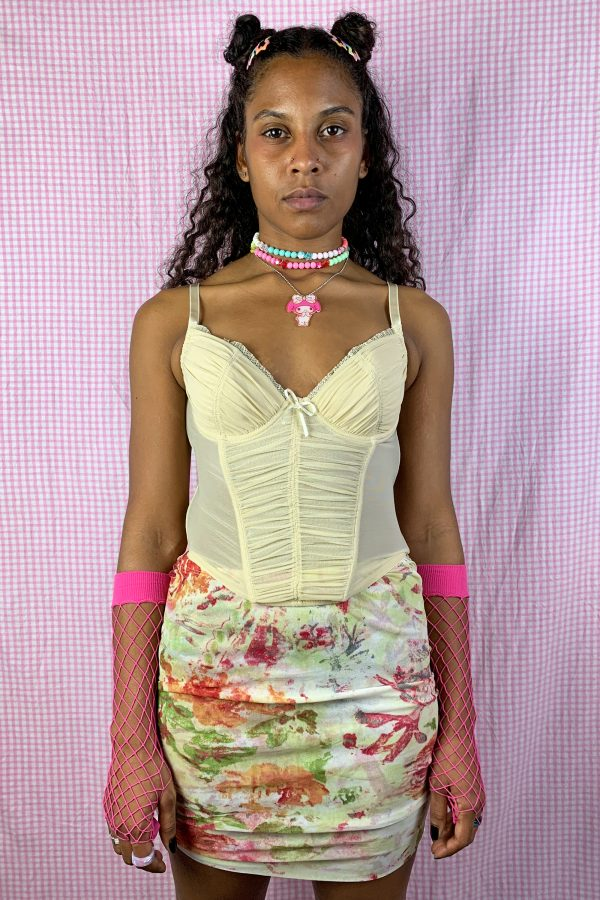 Bustiers & Crops Vintage Y2K Beige Ruched Corset Bustier – S bras