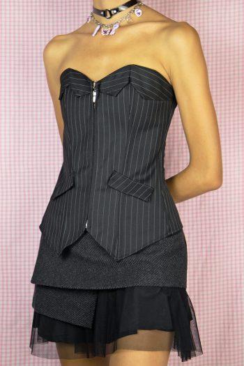 Bustiers & Crops Vintage Y2K Black Suit Corset – M Size M
