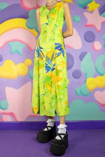 Dresses Vintage 90's Green Floral Midi Dress – S/M 90s dress