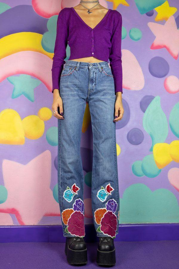 Cyber Vintage Y2K Floral Embroidered Jeans – S denim pants